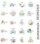set of linear abstract logos ... | Shutterstock .eps vector #391941415