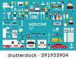 medical big collection in flat... | Shutterstock .eps vector #391953904