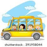 children riding on yellow bus... | Shutterstock .eps vector #391958044