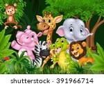 cartoon happy animal collection ... | Shutterstock .eps vector #391966714