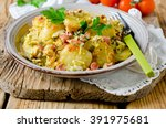 fried potatoes with ham and... | Shutterstock . vector #391975681
