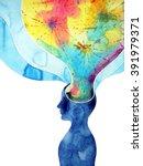 human head  chakra power ... | Shutterstock . vector #391979371