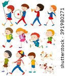 boys and girls in many actions... | Shutterstock .eps vector #391980271