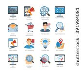 seo and web development flat... | Shutterstock .eps vector #391984081