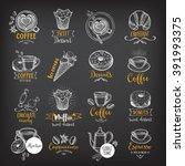 coffee and sweet menu... | Shutterstock .eps vector #391993375