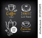 coffee and sweet menu... | Shutterstock .eps vector #391993495