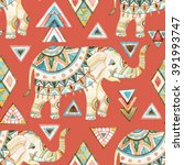 Watercolor Indian Elephant Wit...