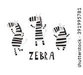 Stock vector cartoon zebra vector print 391995781
