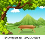 nature scene with picnic table...