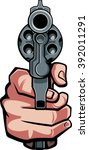 hand holding gun in front view | Shutterstock .eps vector #392011291