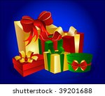 colorful gift boxes on blue... | Shutterstock . vector #39201688