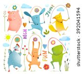 Stock vector animal set jumping rope colorful collection childish pets skipping watercolor style dog and frog 392041594