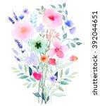 watercolor floral composition.  ... | Shutterstock . vector #392044651