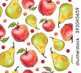 seamless apple and pear pattern ... | Shutterstock . vector #392045659