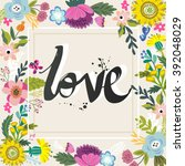 vector stylish floral card ... | Shutterstock .eps vector #392048029
