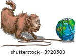 Fat cat destroying the environment Image Description: Conceptual piece, big business fat cat unwinding the earth like a ball of twine. Striping it of its natural resources. - stock photo