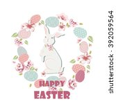 happy easter card with cute... | Shutterstock .eps vector #392059564