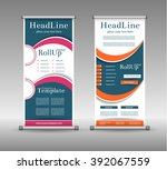 roll up banner abstract... | Shutterstock .eps vector #392067559