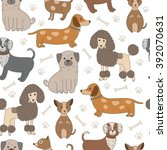 seamless pattern with cute dogs.... | Shutterstock .eps vector #392070631