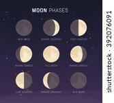 moon phases | Shutterstock .eps vector #392076091