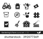 farm icon set     black and... | Shutterstock .eps vector #392077369