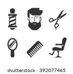 barbershop icons. bearded man... | Shutterstock .eps vector #392077465