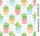 Cactus In Cute Pots Seamless...
