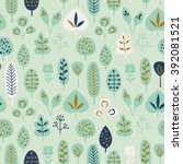 seamless pattern with leaves | Shutterstock .eps vector #392081521