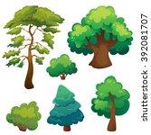 stylized cartoon trees set | Shutterstock .eps vector #392081707
