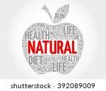 natural apple word cloud concept | Shutterstock . vector #392089009