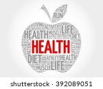 health apple word cloud concept | Shutterstock . vector #392089051