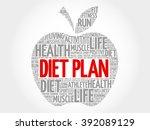 diet plan apple word cloud... | Shutterstock . vector #392089129