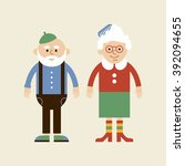 lovely elderly couple. vector... | Shutterstock .eps vector #392094655