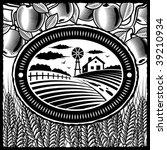 retro farm black and white.... | Shutterstock .eps vector #39210934
