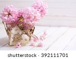 pink  hyacinths and decorative... | Shutterstock . vector #392111701