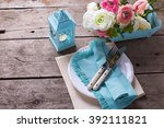 table setting. pink and white... | Shutterstock . vector #392111821