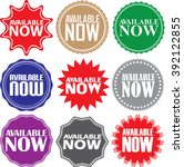 available now signs set ... | Shutterstock .eps vector #392122855