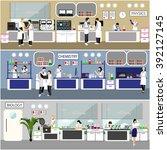 scientist working in laboratory ... | Shutterstock .eps vector #392127145
