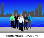 business team and Boston Skyline illustration
