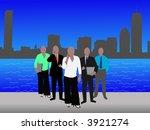 business team and Boston Skyline illustration