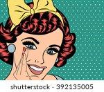 pop art illustration of girl...   Shutterstock .eps vector #392135005
