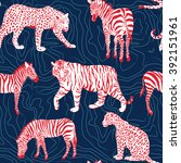 wild animals pattern   contour... | Shutterstock .eps vector #392151961