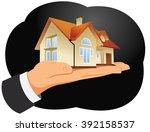 hand of a businessman is... | Shutterstock .eps vector #392158537