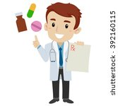 vector illustration of a doctor ... | Shutterstock .eps vector #392160115