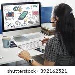 mobile phone multimedia device...   Shutterstock . vector #392162521