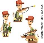 duck hunter with retrieving dog ... | Shutterstock .eps vector #392166565