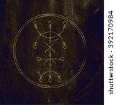 galdrastafir. magic gold runic... | Shutterstock .eps vector #392170984