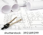 architecture plan and rolls of... | Shutterstock . vector #392189299