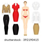 paper doll with clothes for... | Shutterstock .eps vector #392190415