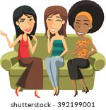 three young women chatting... | Shutterstock .eps vector #392199001